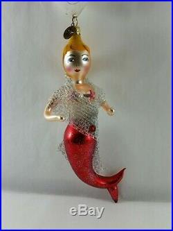 Christopher Radko Italian Blown Glass Ornament NICE CATCH 2002 Mermaid