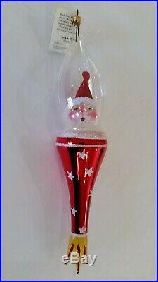 Christopher Radko Italian Blown Glass Ornament ROCKET SANTA 1996