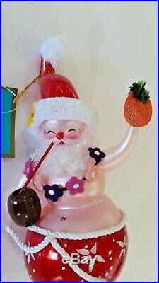 Christopher Radko Italian Blown Glass Ornament SAMBA SANTA 2007