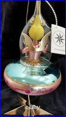 Christopher Radko Italian Glass SIGNED! Ornament ANGEL ON BOARD 1994