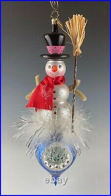 Christopher Radko Italian Snowman Reflector Ornament 12 Long Mint Condition