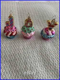 Christopher Radko JOY CAKES Blown Glass Ornaments, Set of 3, RARE