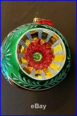 Christopher Radko Large Glass Reflector Ball Christmas Ornament 6 Dia