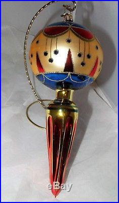 Christopher Radko Large Reflector Drop Christmas Ornament Red Blue Gold with Box