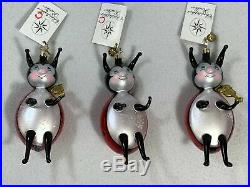 Christopher Radko Lucky Ladybugs Christmas Ornaments EXCELLENT RARE A3836