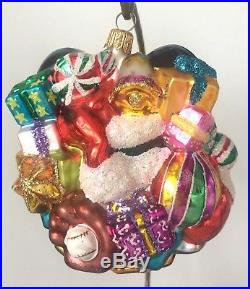 Christopher Radko MICKEY MOUSE with GIFTS Disney Handcrafted Big Glass Ornament