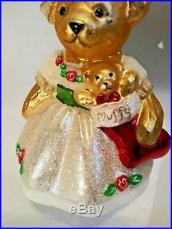 Christopher Radko MUFFY CHRISTMAS ROSE Ornament 2013 red roses stocking toy
