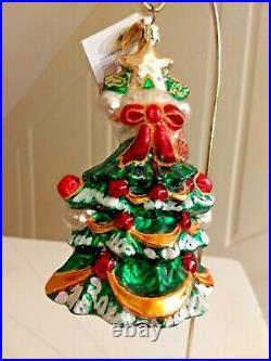 Christopher Radko MUFFY LITTLE FIR TREE Ornament Ribbons Garland Snow Bird NIB