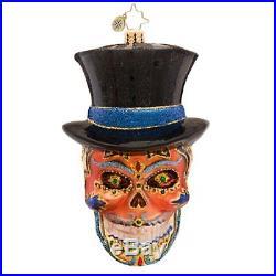 Christopher Radko Mr. Dead Skeleton Skull with Hat Glass Ornament 1017401