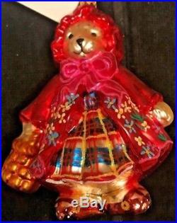 Christopher Radko Muffy Little Red Riding Hood Bear 2004 Christmas Ornament