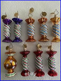 Christopher Radko Nine (9) Pieces of Candy Christmas Ornaments