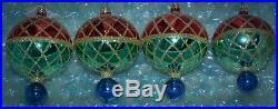 Christopher Radko Ornament CHRISTMAS HARLEQUIN Round Drop Ball Red Green Blue