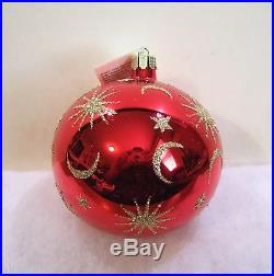 Christopher Radko Ornament Celestial Red Ball NIB (R7)