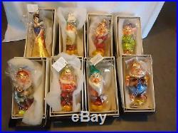 Christopher Radko Ornament Disney Snow White & Seven Dwarfs Holiday 8pc set NIB