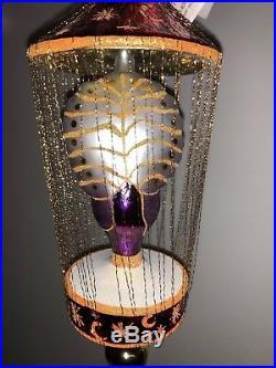 Christopher Radko Ornament Gilded Cage 93-406-2 Peacock 9 Purple 1993 Gold