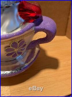 Christopher Radko Ornament Mad Hatter White Rabbit Teacup Silver Liquid Lining