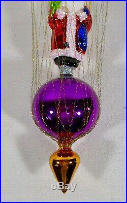 Christopher Radko Ornament in Box STAR DIVE SANTA Wired Balloon and Parachute