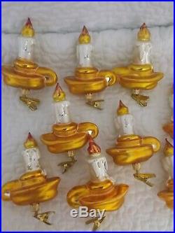 Christopher Radko Ornaments Vintage Clip On Lights Lamps Set of 9