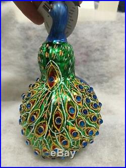 Christopher Radko PEACOCK ornament In Living Color VERY RARE VINTAGE