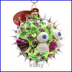 Christopher Radko PUFF-A-KISS Glass Christmas Ornament Fish 3012631 Green