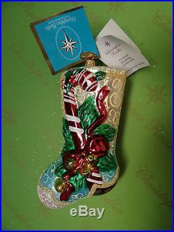 Christopher Radko Peppermint Jingle Stocking Glass Ornament
