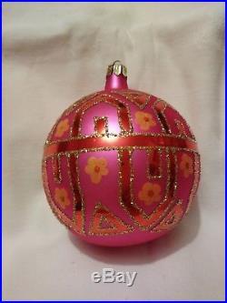 Christopher Radko Pink Tiffany Blown Glass Ball Christmas Ornament 4.5