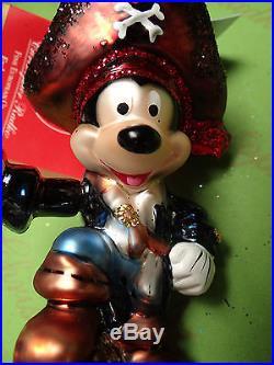 Christopher Radko Pirate Mickey Glass Ornament