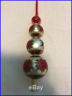Christopher Radko Poinsettia Christmas Tree Topper Ornament Finial 17