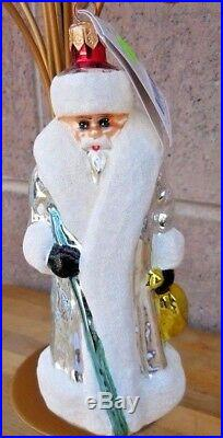 Christopher Radko RARE SILVER RUSSIAN SANTA Ornament MINT cat. # 91-112-9 WOW