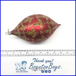 Christopher Radko REGAL HOLLY Ornament Red Holly Leaves Large Ball Drop 01-LAT-0