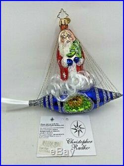 Christopher Radko ROCKER RIDER Christmas Ornament SANTA Space Reflector Rare