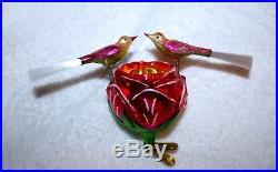 Christopher Radko ROSEY LOVEBIRDS Glass Ornament GERMAN Indent Reflector CLIP ON