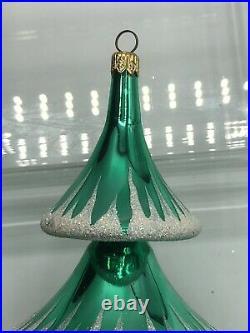 Christopher Radko Rare Elegant Evergreens Green Tree Reflector Drop Ornament
