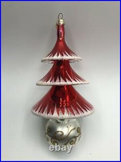 Christopher Radko Rare Elegant Evergreens Red Tree Reflector Drop Ornament