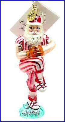 Christopher Radko Rare Santa's Fast Ball Claus Pitching Baseball Ornament NEW
