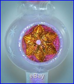 Christopher Radko Reflector Finial Christmas Ornament PINK ANGEL REALM OF GLORY