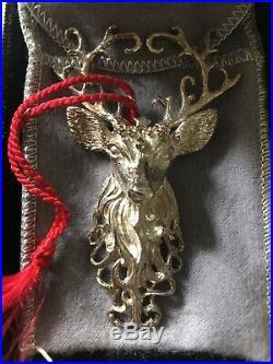Christopher Radko Regal Reindeer Sterling Silver Christmas Ornament BRAND NEW