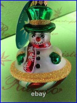 Christopher Radko Roly North Pole Snowman Gem Glass Ornament