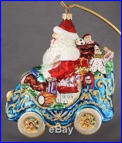 Christopher Radko Royal Roadster Santa Blue Car Ornament 99-085-0 6 1999