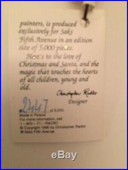 Christopher Radko SANTA CALLS Saks Fifth Avenue 1996 Ltd edition #2247/5,000