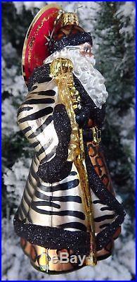Christopher Radko SANTA'S WILD SIDE Cheetah Zebra Ornament #1019096 NEW 2017