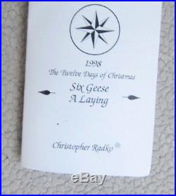 Christopher Radko SIX GEESE A LAYING 1998 12 DAYS OF CHRISTMAS ORNAMENT LTD. ED
