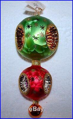 Christopher Radko STARBRITE RARE Finial/Ball Glass Reflector/indent Ornament