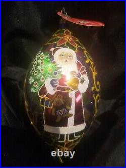 Christopher Radko Santa In Stained Glass Style Ornment