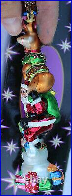 Christopher Radko Santa Snowman Reindeer Yuletide Totem Glass Christmas Ornament