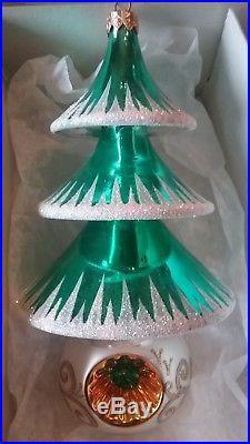 Christopher Radko Set Of 3 Elegant Evergreens Glass Christmas Ornaments