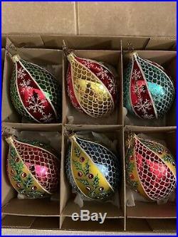 Christopher Radko Set of 6 Fantasia Blown Glass Ornaments Glisten Glimmers