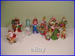 Christopher Radko Set of 8 Large Mercury Glass Glitter Ornaments + Waterford