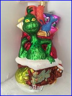 Christopher Radko Seuss's Wubbulous World Grinch Up On The Rooftop Ornament Nib