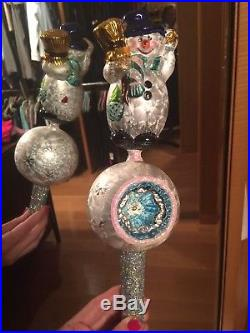Christopher Radko Snow Swirl Snowman Art Glass Christmas Ornament